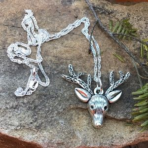 Christmas reindeer deer silver 925 necklace 20""